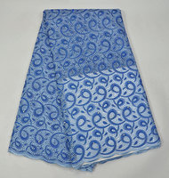 PR307-2!2017 Latest Blue color Embroidery African Laces Fabric High Quality 100% Swiss cotton beaded Lace Fabric For Party Dress