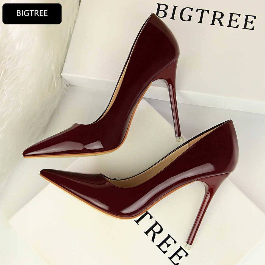 White Red New Patent Leather Shoes Shallow Thin Heel 10.5CM Women High Heels Shoes Platform Pumps For Ladies Wedding Party Shoes