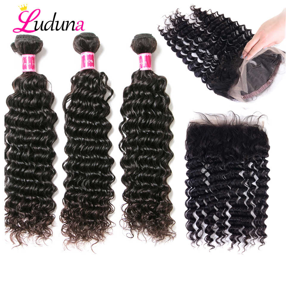 Luduna 360 Lace Frontal With Bundle Peruvian Deep Wave Hair Bundles With Closure 3 Bundles With Lace Frontal Closure Remy Hair