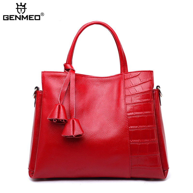 New Arrival Genuine Leather Handbags Women Cow Leather Shoulder Bags Famous Brand Ladies Leather Tote Bag Female Messenger Bag цена