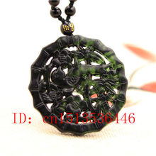 Hollow Out Carved Birds flowers Jade Pendant Natural Chinese Black Green Necklace Charm Jewellery Fashion Lucky Amulet Gifts(China)