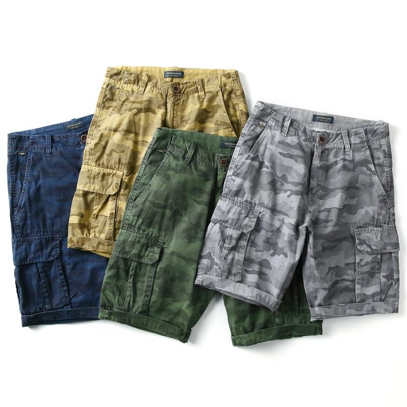 2018 New Summer Men Bermuda Shorts Cargo Multi-pocket Mens Camouflage Short Pants 100% Cottom High Quality Slim Fit Breeches Men