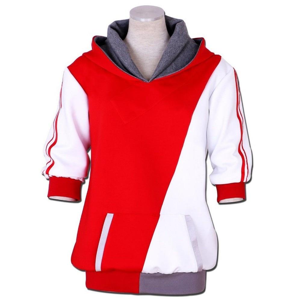 ₩Pocket Monster тренер красный, белый крест толстовка с капюшоном ... 680a9881891