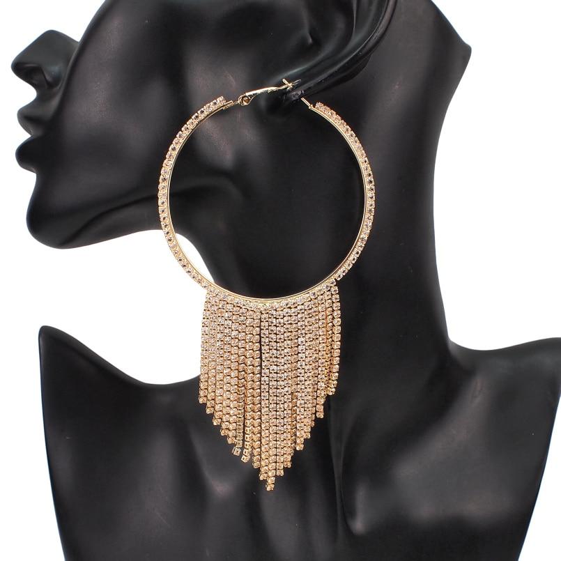 Luxury Shiny Rhinestones Tassel Earrings Crystal Long Drop Earrings for Women Wedding Party Jewelry Accessories UKMOC