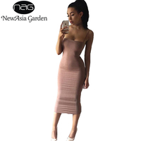 NewAsia Garden Strapyy Double Layered Cotton Bodycon Midi Dress Summer Basic Tank Sheath Club Sexy Party