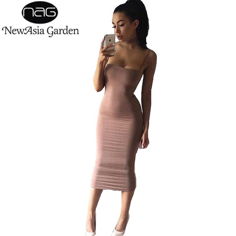 В NewAsia сад двойных слоев хлопка облегающее платье миди Для женщин летнее платье одноцветное Клубные пикантные Вечерние Длинное платье скольжения платья Vestidos