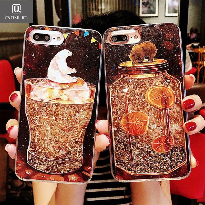 Qinuo Cute Quicksand Case For Iphone 6 6s 7 8 Plus X Lemon Tea