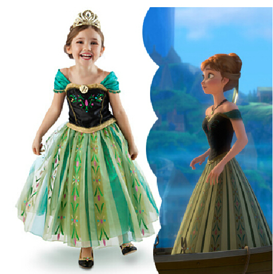 2014 Fall Vestidos Infantis Frozen Anna Elsa Princess Dress