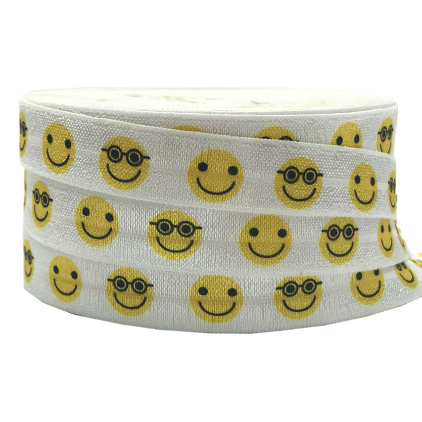 New Arrived 5/8 Smiling face Print Fold Over Elastic 10 yards expression FOE Elastic Ribbon for Girls Hair Tie DIY Head wear