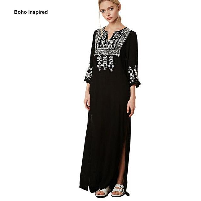 633836f2a € 41.36 |BOHO Maxi vestido media manga cuello en V bordado División largo  de algodón negro vestido de boho hippie chic Ropa de Otoño 2017 en ...