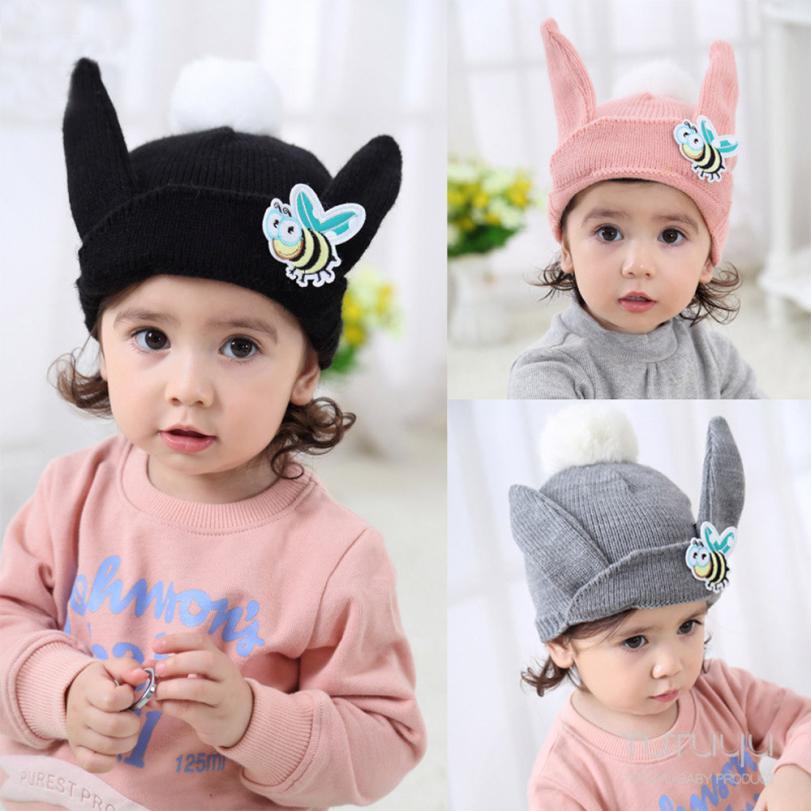 Милые детские для девочек и мальчиков с рисунком пчелы ушками теплые зимние вязаные Кепки шапка берет A35 SEP1