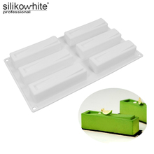 Silikowhite 3D Rectangle White Silicone Cake Mold  Kitchen Baking Tools for Dessert Mousse Browni Jelly Pudding Forms Cakes tool