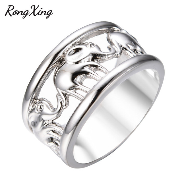RongXing Unisex Style Vintage Lucky Silver Elephant Rings for Men