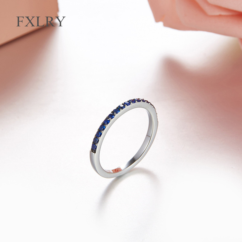 FXLRY New Arrived Personality S925 Sterling Silver Micro Inlay Zircon Caibao Single Row Ring Round Circular For Girl T
