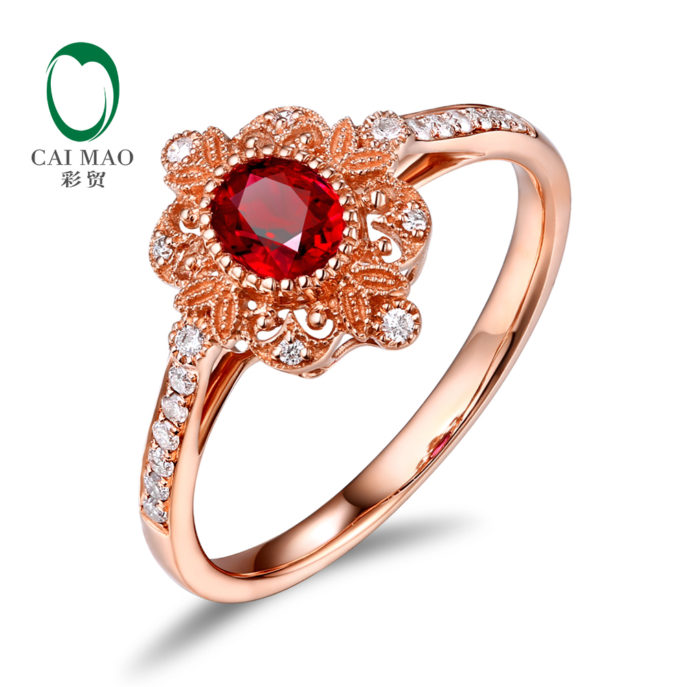 Caimai romántico 14 K oro rosa 0.59ct anillo de compromiso de rubí rojo Natural Milgrain diamante