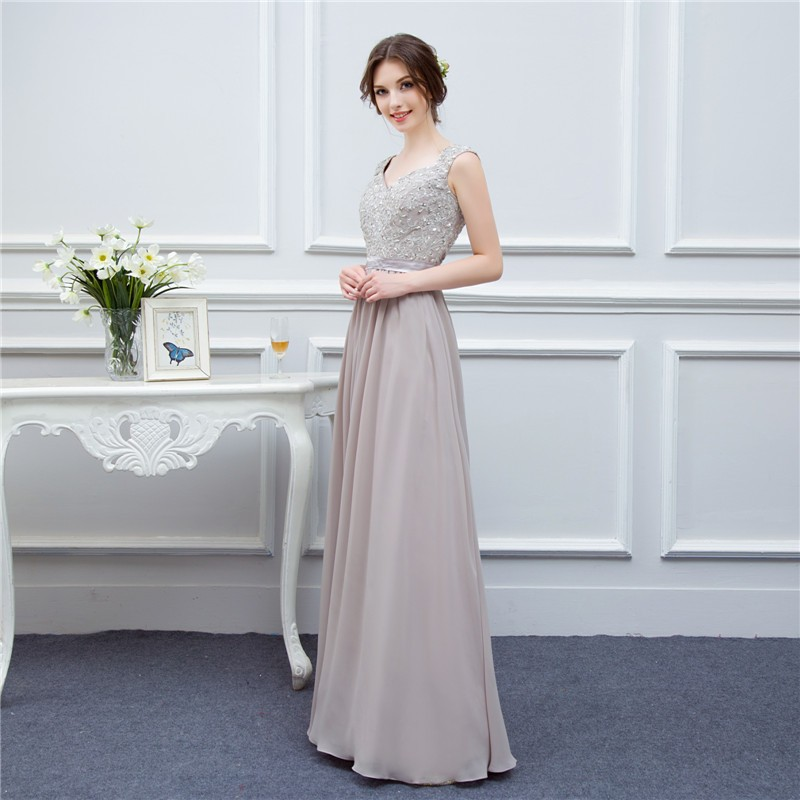 silver grey cap sleeve high quality applique floor length long chiffon bridesmaid dress wedding event dress maid of honor 3