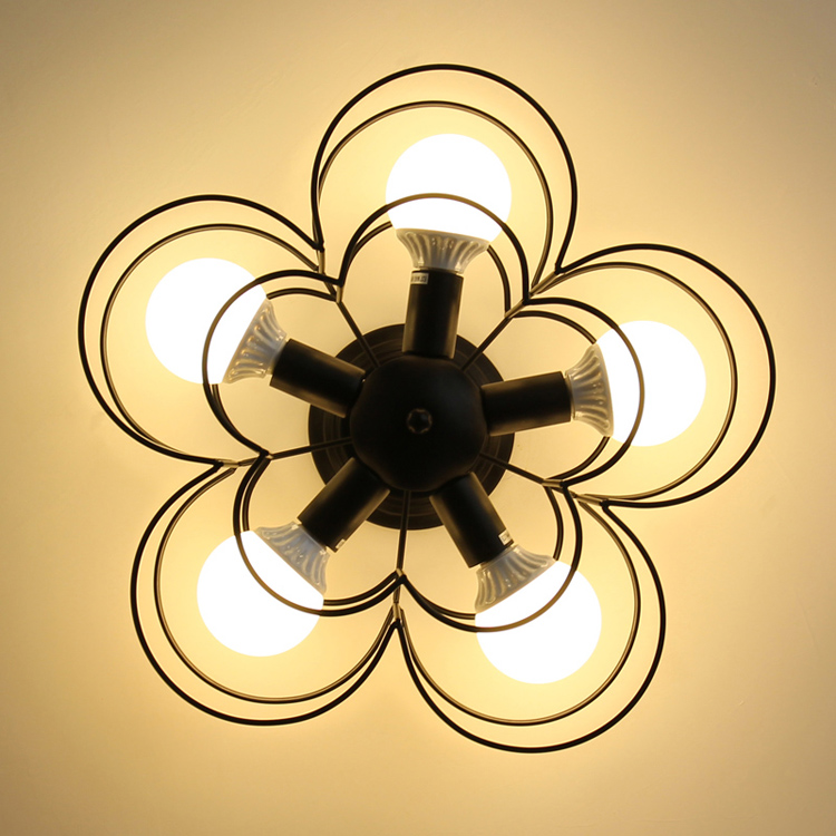 American style iron ceiling light modern simple flower white black bar living room lighting creative personality ceiling lamp ZA lang qing court iron creative flower green dill multilayer wooden living room interior floor spider showy flower pots