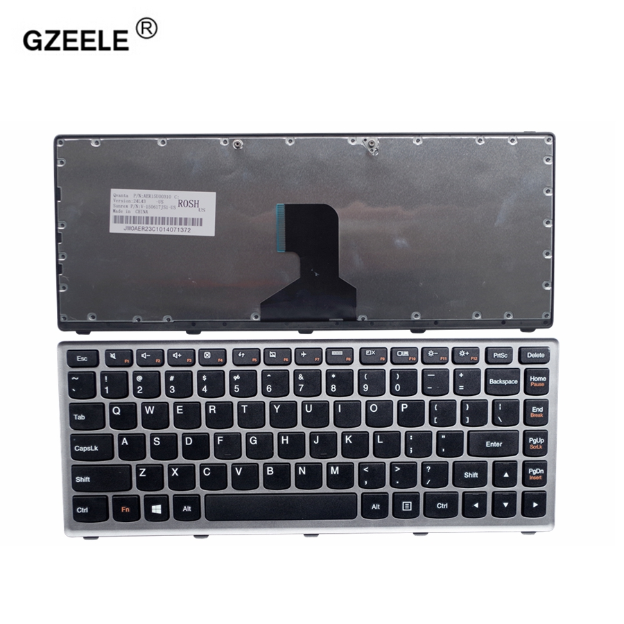 GZEELE US New Keyboard FOR LENOVO Z400 Z400A P400 Z410 Z400T Z400P Laptop Keyboard Without Backlight Grey Border English Layout