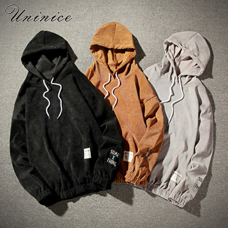 2018 easter mens letter embroidered plus size 5XL sweatshirts corduroy tops male hoodies ...