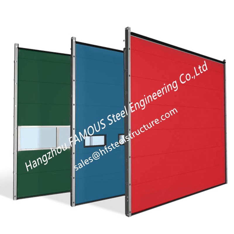 High Density Polyurethane Core Overhead Steel Doors Fully Automatic Wind Resistant Industrial Lifting Doors