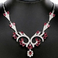 Awesome Long Big Pink Tourmaline White CZ Ladies 925 Silver Necklace 18 5 Inch 109x55mm