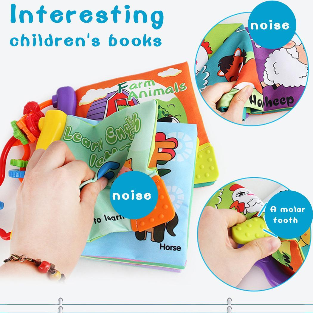 Baby Cartoon Soft Cloth Book child Intelligence Development Infant Early Learning Educational Stroller Rattle kids Enlighten toy in Sorting Nesting Stacking toys from Toys Hobbies