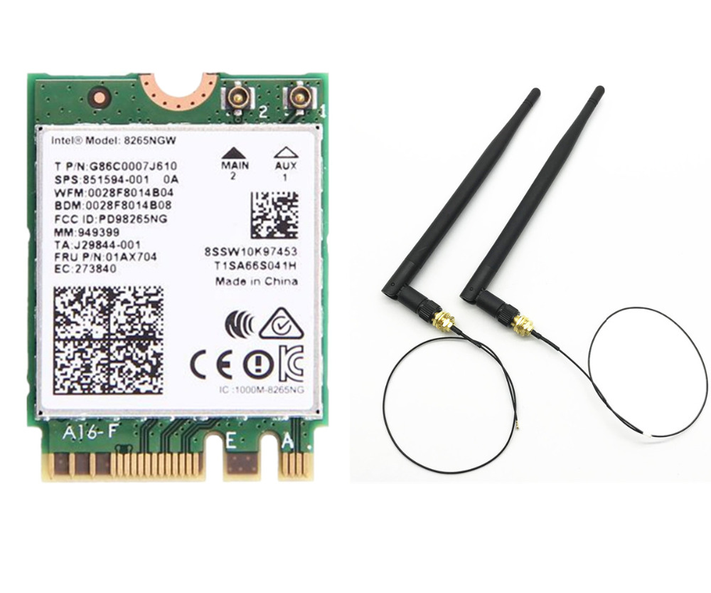 4dbi Dual Band 2.4G/5 Ghz MHF4 Antennes ensemble + Intel 8265NGW sans fil-AC 8265 NGFF 802.11ac 867 Mbps 2x2 MU-MIMO WIFI BT 4.2 carte