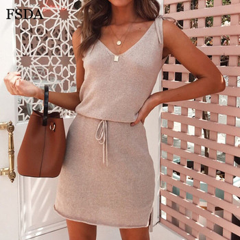 FSDA Elegant Mini Casual Dress Backless Solid Slit Wrap Deep V Neck Sashes Spaghetti Strap Sleeveless Summer Dresses Beach Women
