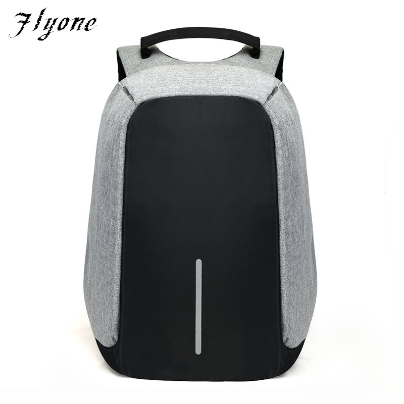 Flyone Anti-theft Waterproof Laptop Backpack Men External USB Charge Notebook Backpack for Women  Computer bag Mochila FY0144 brand external usb charge computer bag anti theft notebook backpack 15 17 inch black waterproof laptop backpack for men women