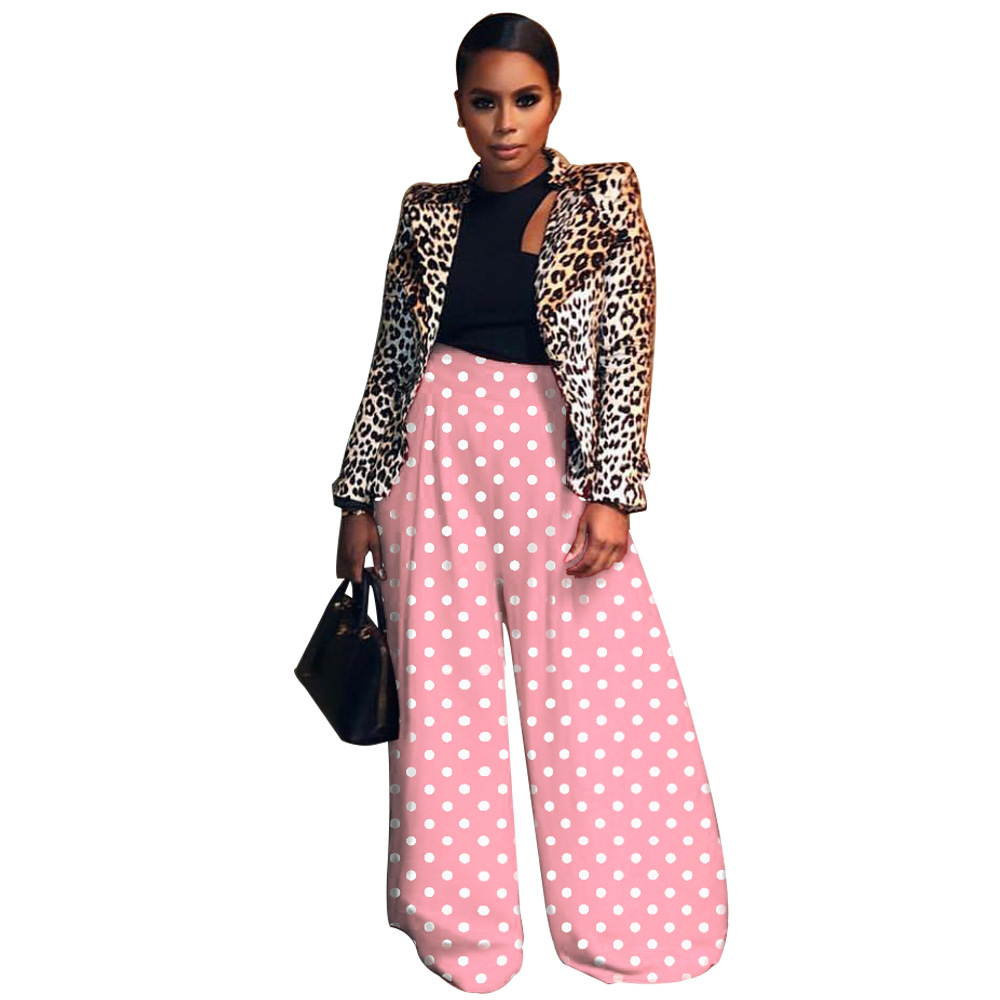 New Polka Dot Pants Wide Leg Women Pink Pants Elastic String Loose Full Length Bottoms White Dots Long Trousers High Waist Pant