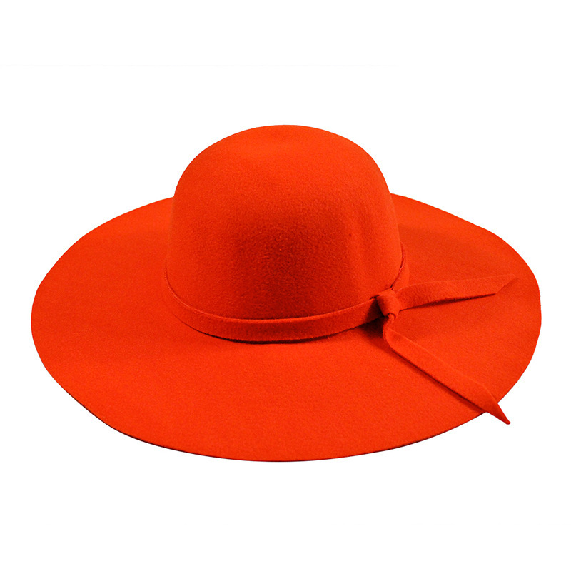 259af568138 YIFEI New Pillbox Hat Women s Wide Brim Felt Bowler Fedora Hat Floppy Sun  Bowknot Cloche Cap Women s Large Hat 10 Colors outdoor-in Fedoras from  Apparel ...
