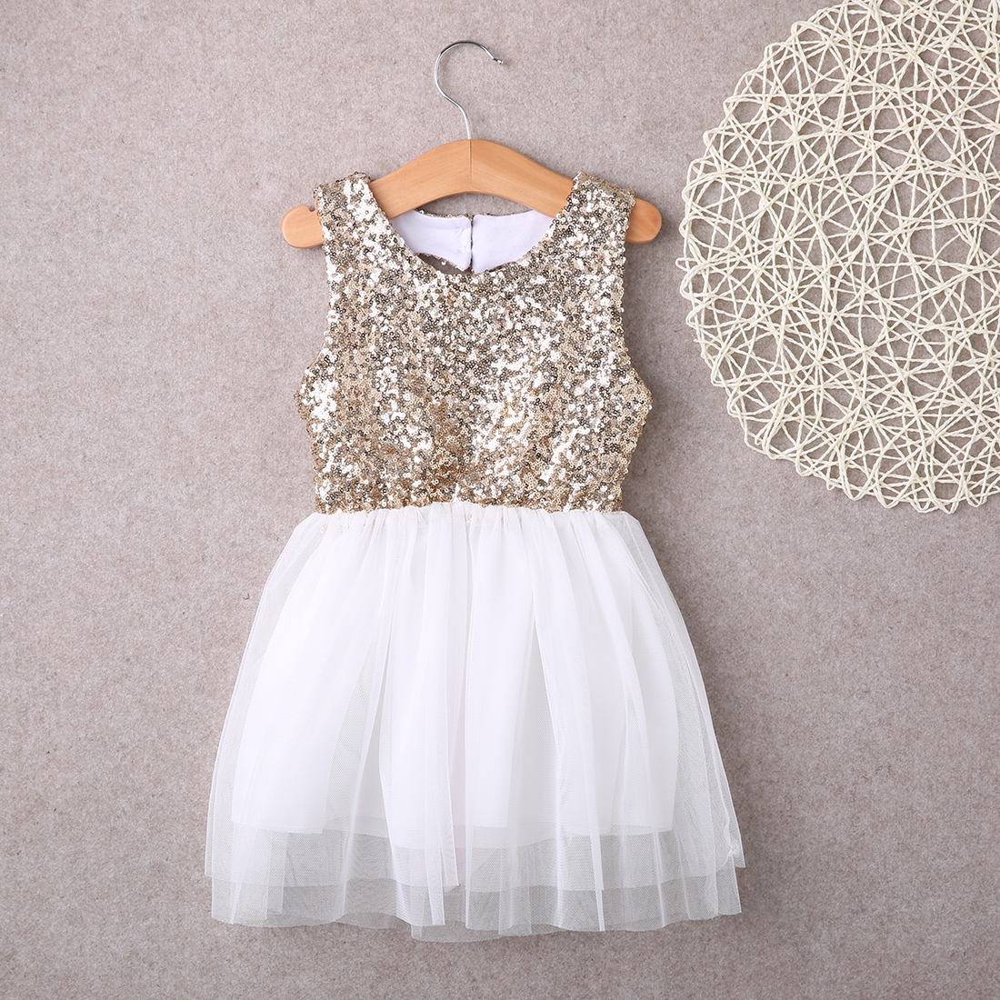 summer dress 2017 wholesale sequins dress baby flower girl dress party gown dresses backless sleeveless sundress