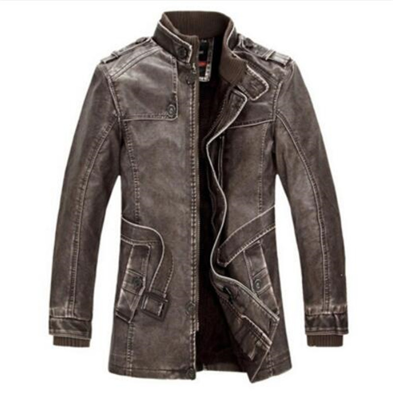 Brand Leather Jacket Men Winter Bomber Motorcycle Washed Leather Jackets And Coats Mens Stand Collar Plus Brand Leather Jacket Men Winter Bomber Motorcycle Washed Leather Jackets And Coats Mens Stand Collar Plus Size 4XL thick Coat