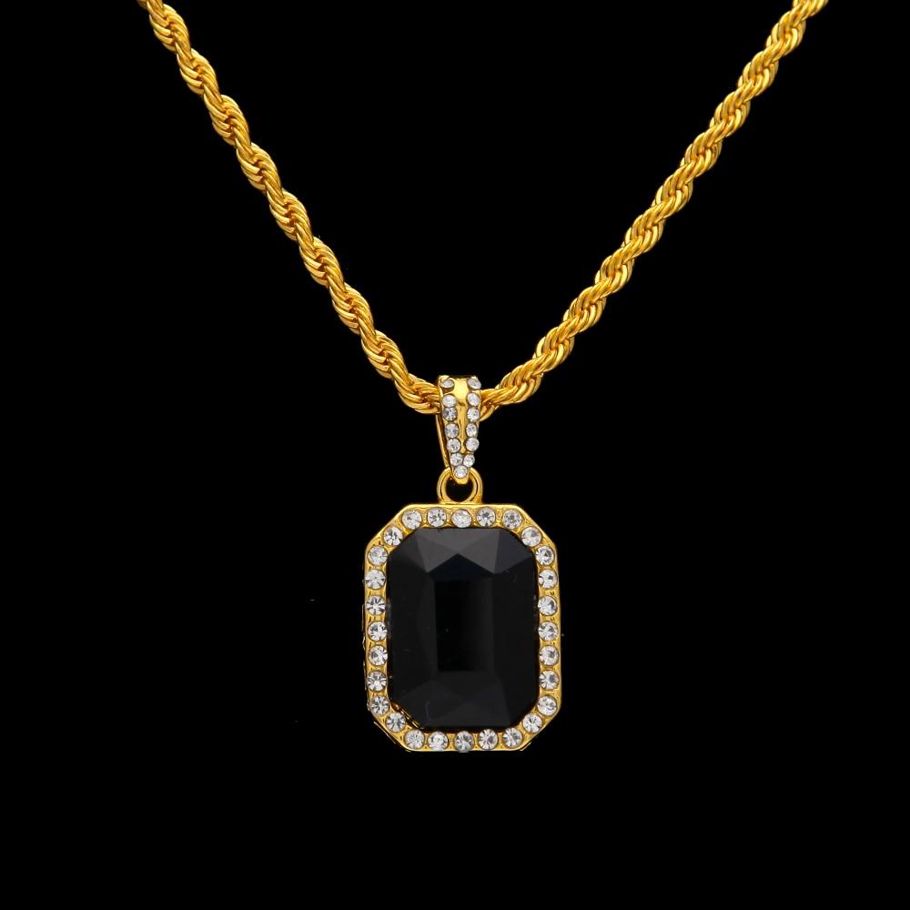 Hip Hop Χρυσό χρώμα Iced Out Rhinestone τετράγωνο - Κοσμήματα μόδας - Φωτογραφία 3