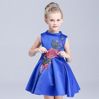 2016 Retail New Style Flower Summer Baby Girl Print Flower Girl Dress For Wedding Girls Party