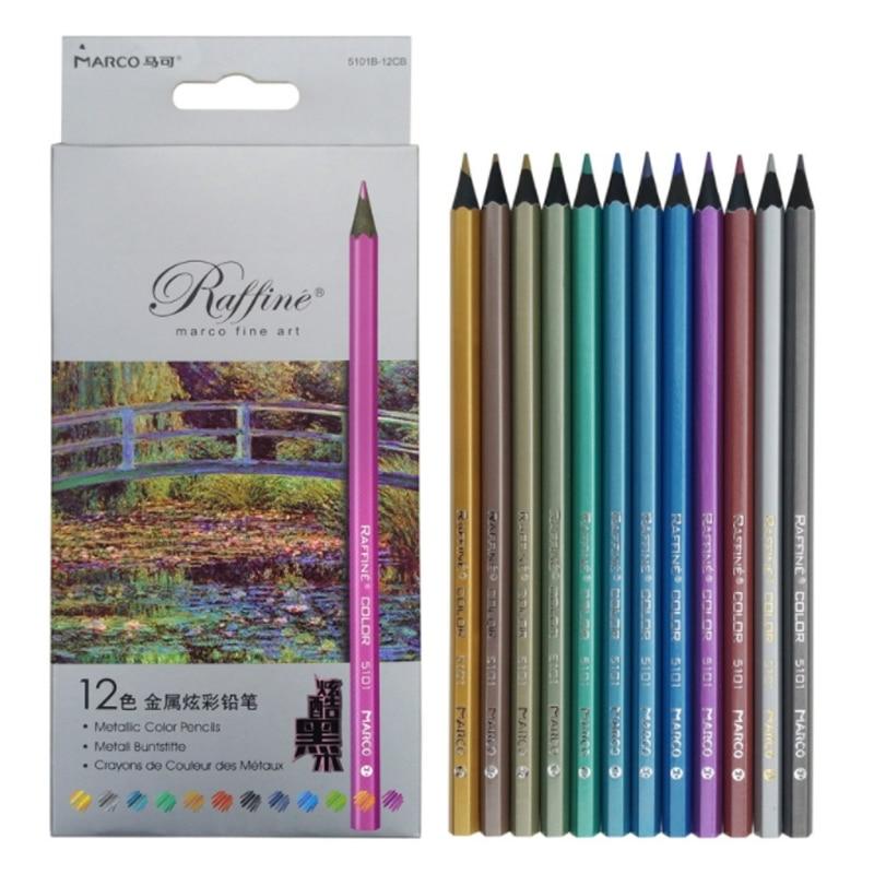 Caja De lápices De colores metalizados, Marco De madera negra, lápiz De dibujo, grafiti, crayones De plomo, lapislázuli De arcoíris, 12 colores, 5101B
