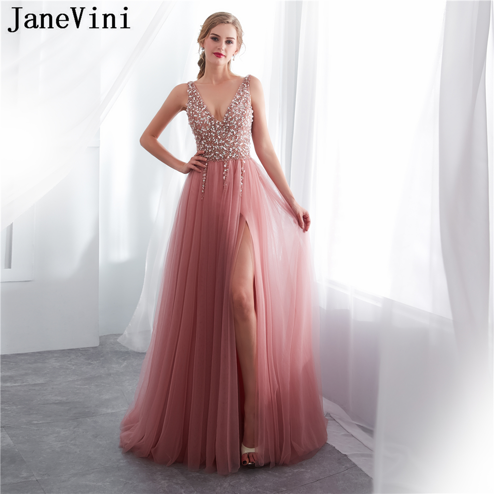 JaneVini Luxury Beaded Long   Bridesmaid     Dresses   A Line Sexy Deep V Neck High Split Backless Tulle Formal Prom Gowns Vestidos Dama