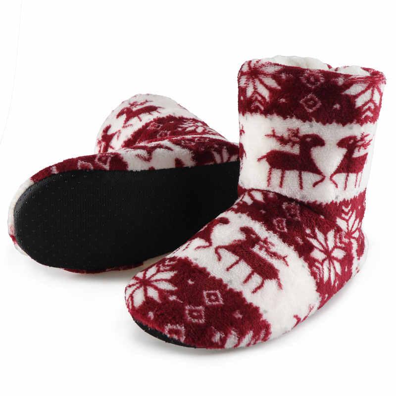 """Ngôi Nhà mùa đông Giày Nữ Giày Nữ Giáng Sinh Nai Sừng Tấm Trong Nhà Vớ Giày Bông Ấm Áp Bootie Sang Trọng Mềm Botas Mujer """"Invierno 2020"""