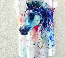 Round Collar Women T Shirt Summer Style Ink Painting Horse Pattern Print T-Shirt Female Clothes