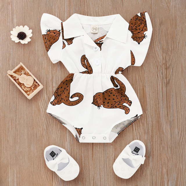 Baby Girl Clothes Summer Rompers Cute Newborn Baby Girl Kid Printed Short Sleeves Romper Outfit Clothes 0-24M White Romper