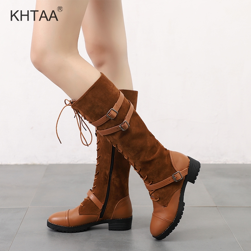 Plus Size Autumn Women Boots Low Heels Shoes Female Mid Calf Boots Lace Up Zipper 2018 Casual Footwear Platform Chunky Heel Shoe sorbern 17cm square chunky high heel mid calf boots lace up round toe women boots chunky platform boots plus size women autumn
