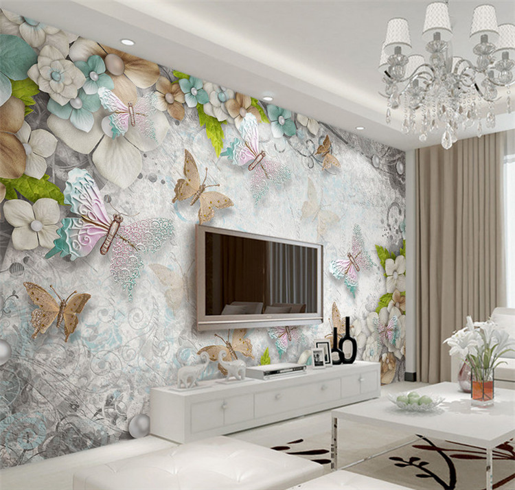 3d color butterfly living room sofa bedroom tv background - Beautiful wall colors for living room ...