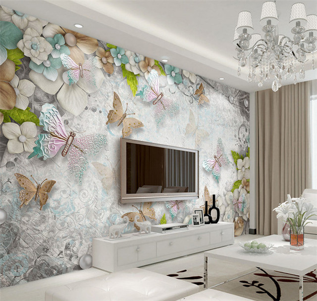 paper living bedroom butterfly sofa minimalist floral flowers 8d sitting wallpapers beibehang backdrop mural flooring embossed pearls painting pvc stereoscopic
