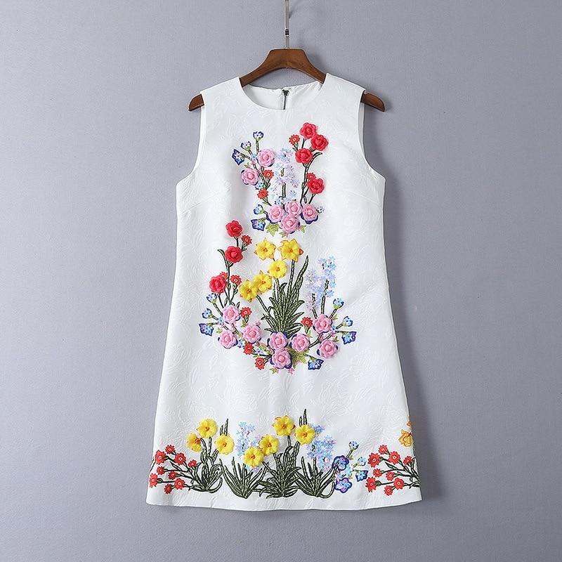 Three dimensional flower 2019 summer new white beaded sequined vest dress 190305LU01