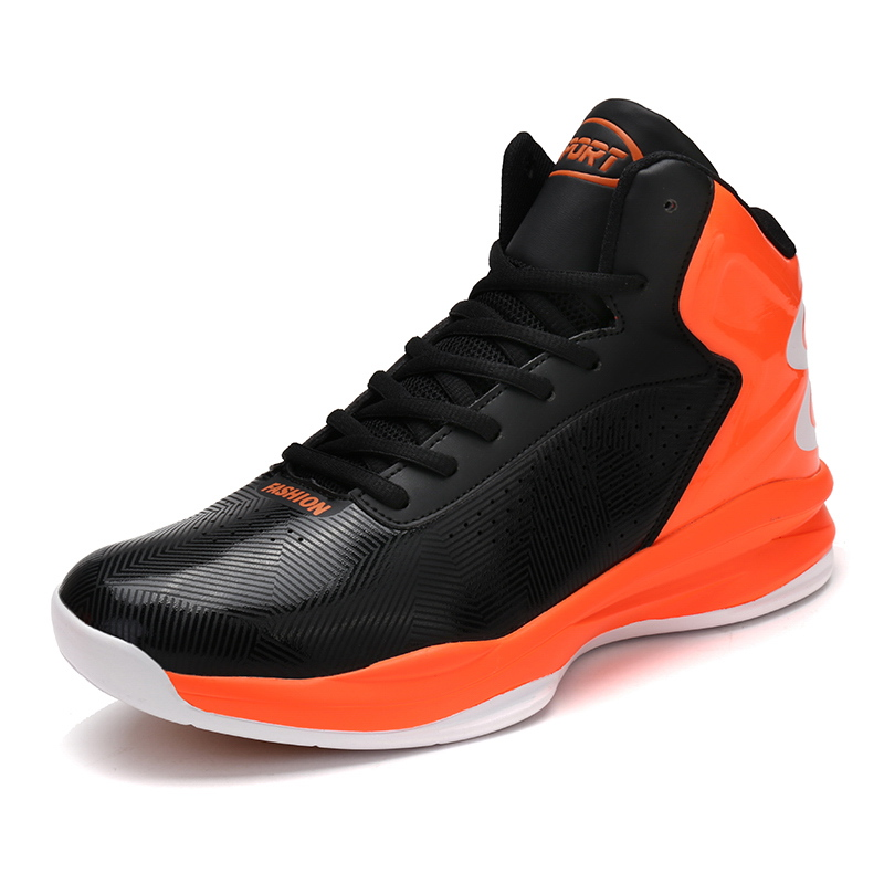 2017 New Basketball Shoes Men Leather Basketball Sneakers Lace Up Man High Top Gym Trainrs 4 Colors Black Rd Basketball Boots