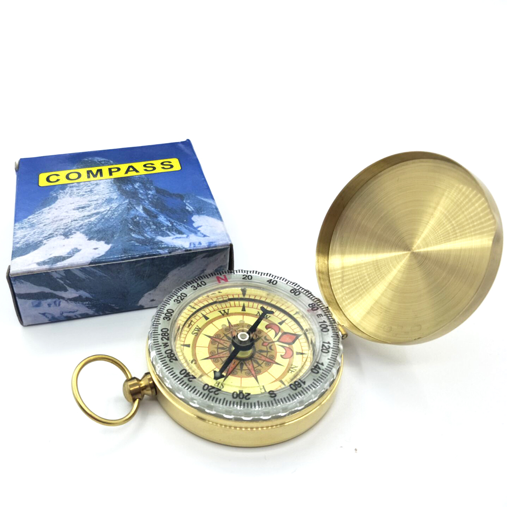 High Quality Compass New Outdoor Tool Camping Hiking Portable Pocket Brass Gold Color Copper Double Display Compass Navigation