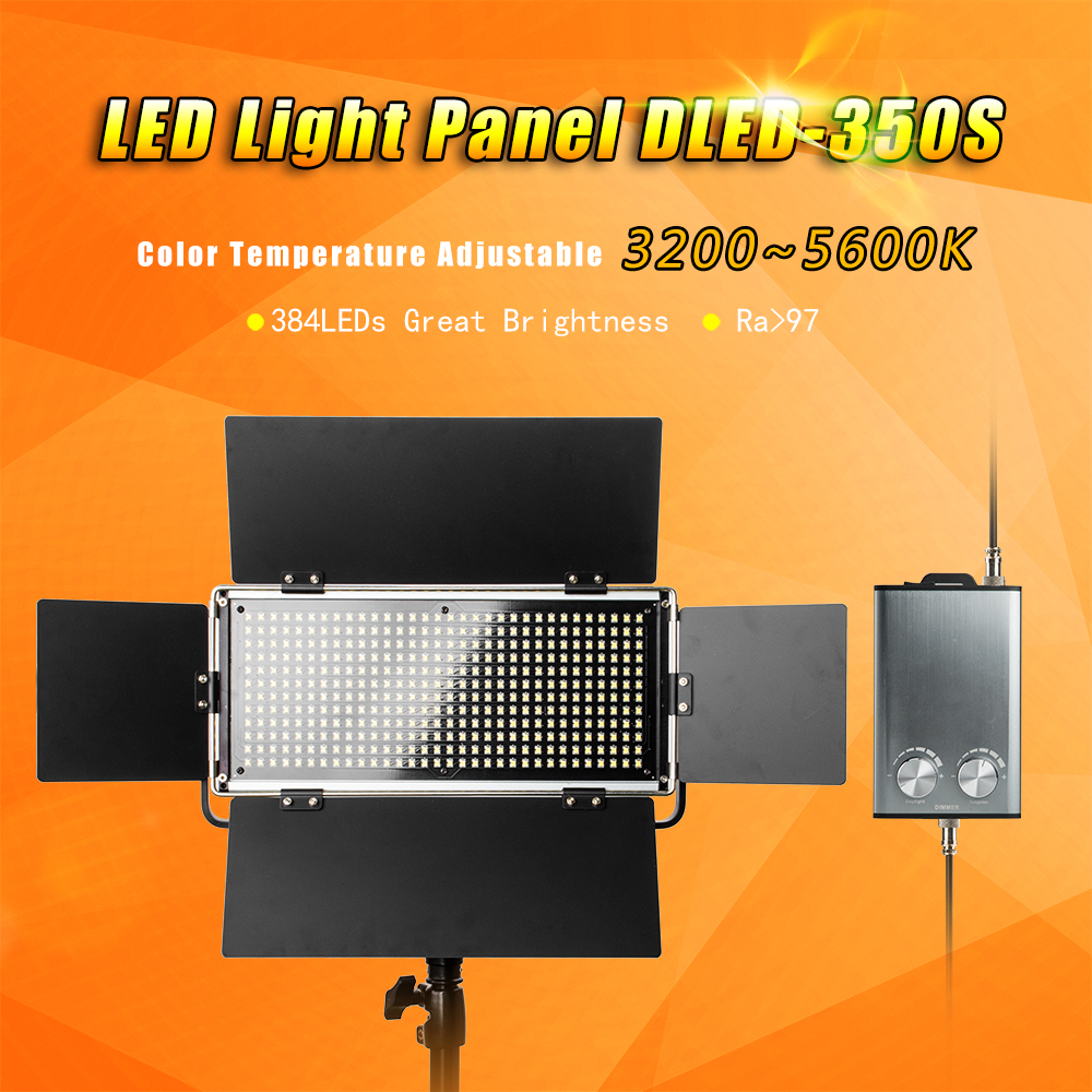 Pergear DLED-350S Led Video Light Panel CRI 97 70W 384Pcs SMT LEDs Dimmable 3200~5600K Aluminum Alloy Portable LED Lighting Kit