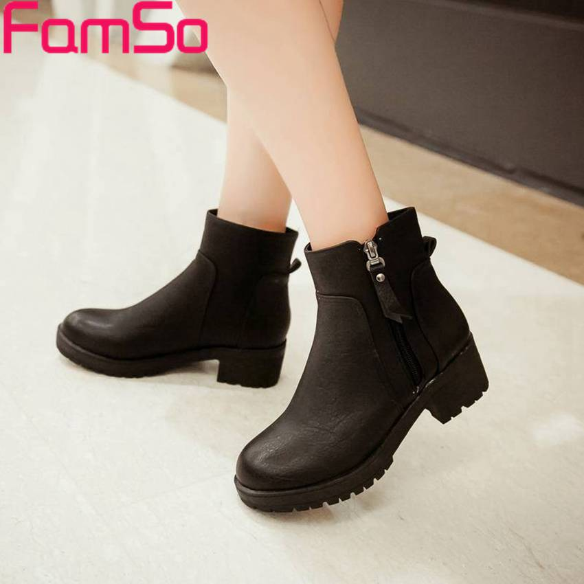 Free shipping 2016 Sexy font b Women b font Autumn Ankle Boots Solid Waterproof Dress Shoes