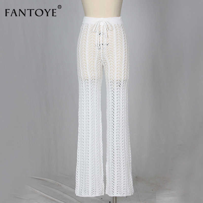 Fantoye örme yüksek bel pantolon kadın 2020 Hollow Out tığ çiçek bahar düz ince seksi Clubwear kadın pantolon dipleri