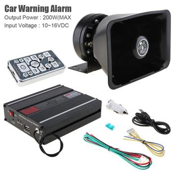 Universal 12V 200W 18 Tone Car Warning Alarm Police Siren Horn Speaker with MIC System and Wireless Remote Control